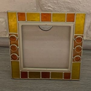 Yellow Orange Glass Square Picture Frame 5 1/2""